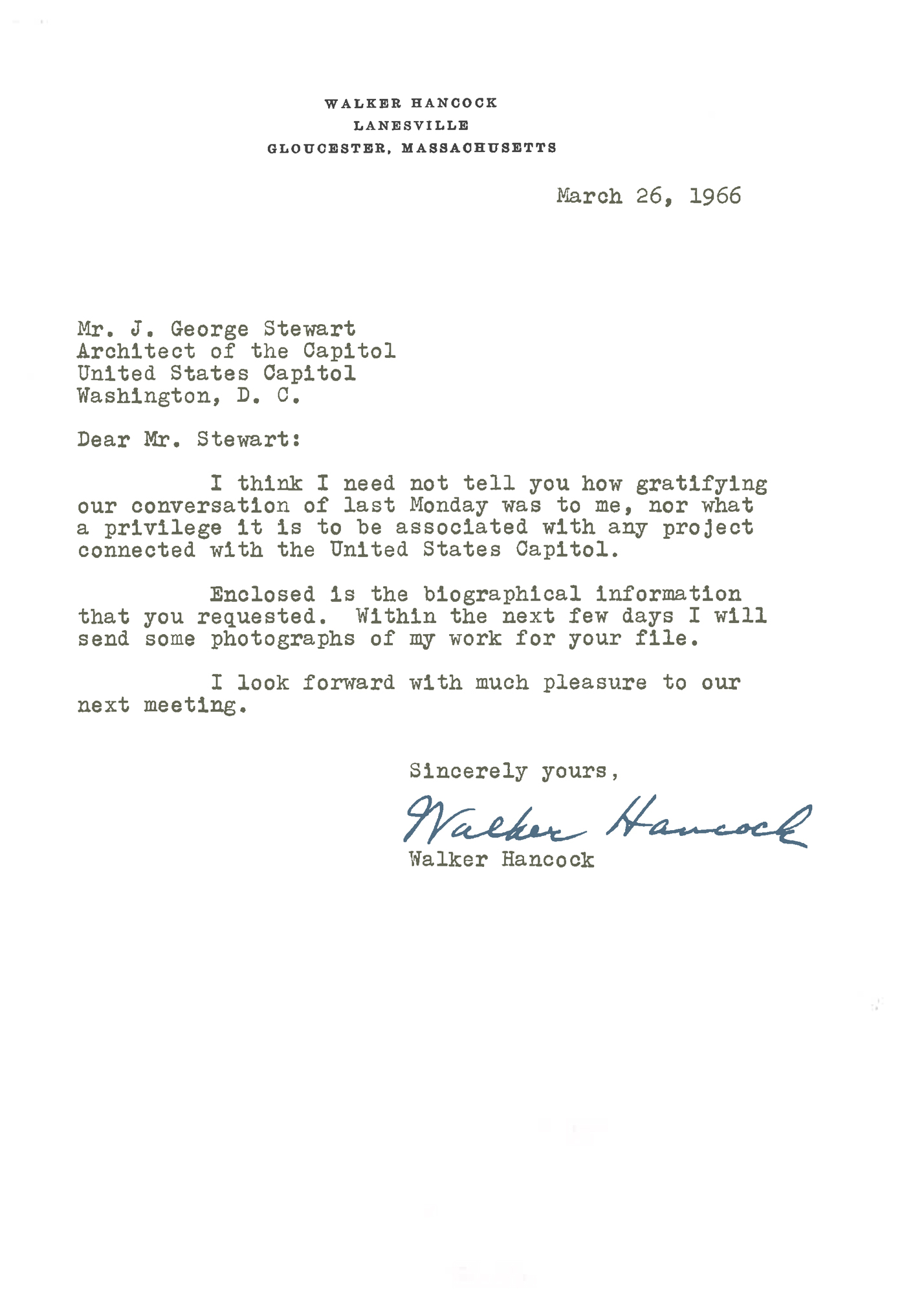 Letter from Walker Hancock to George Stewart