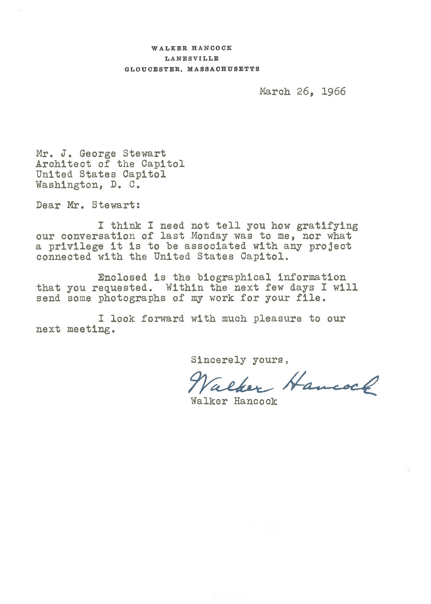 Letter from Walker Hancock to George Stewart