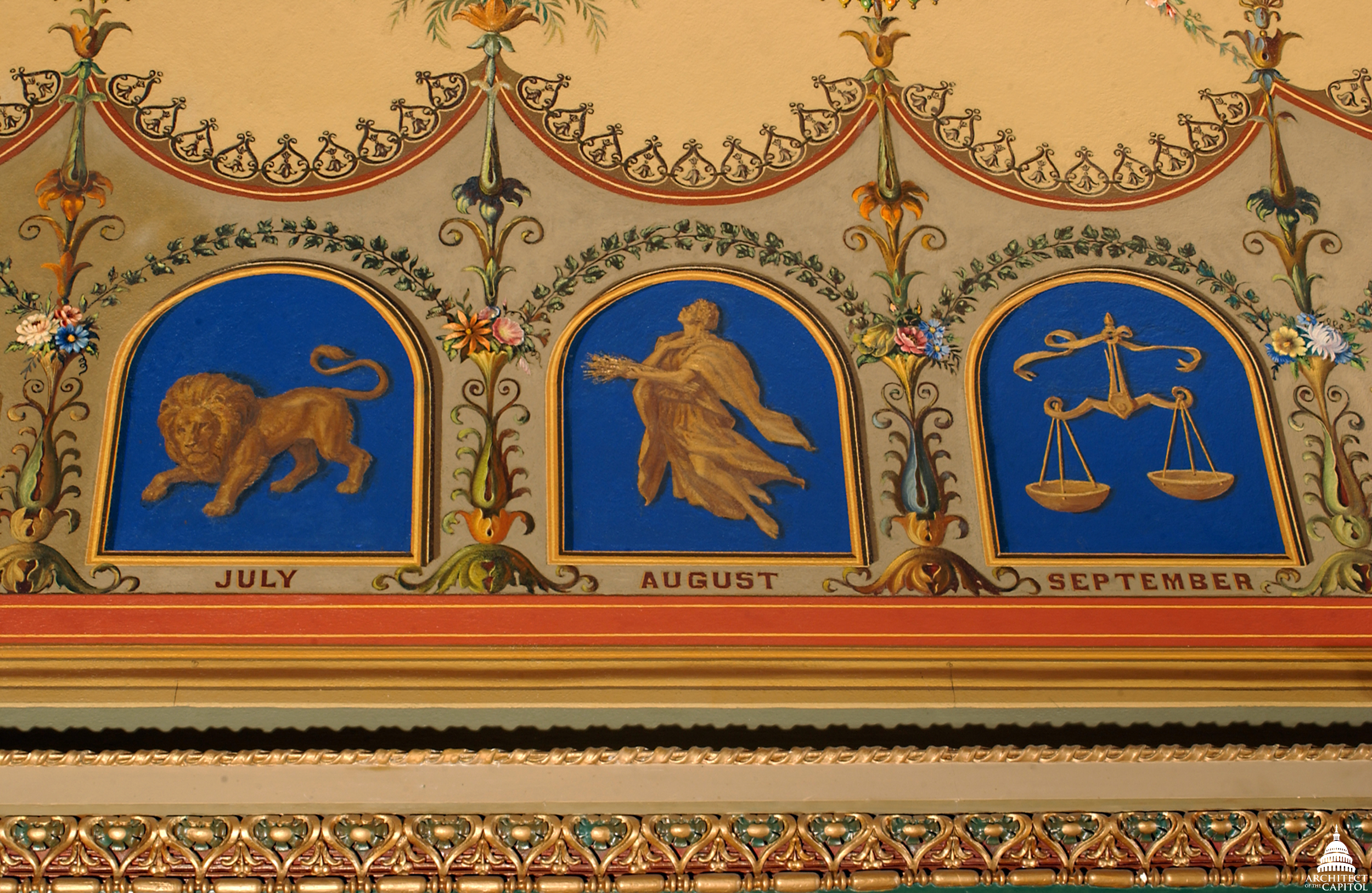 July, August and September represented in Brumidi's Zodiac Corridor of the U.S. Capitol.