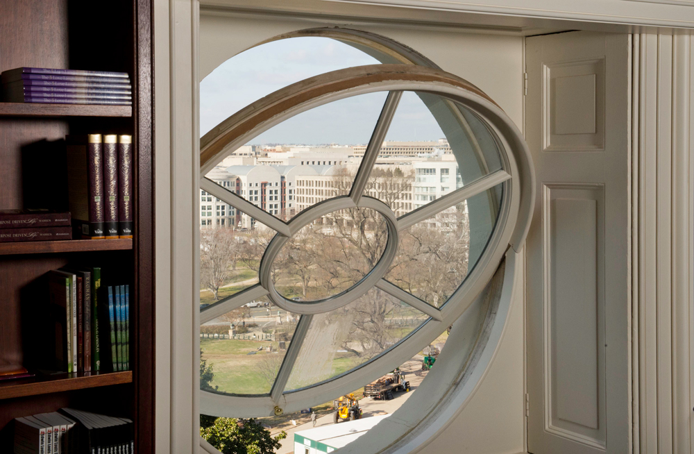 Circular windows on the Senate side of the Capitol are hinged to let fresh air in.