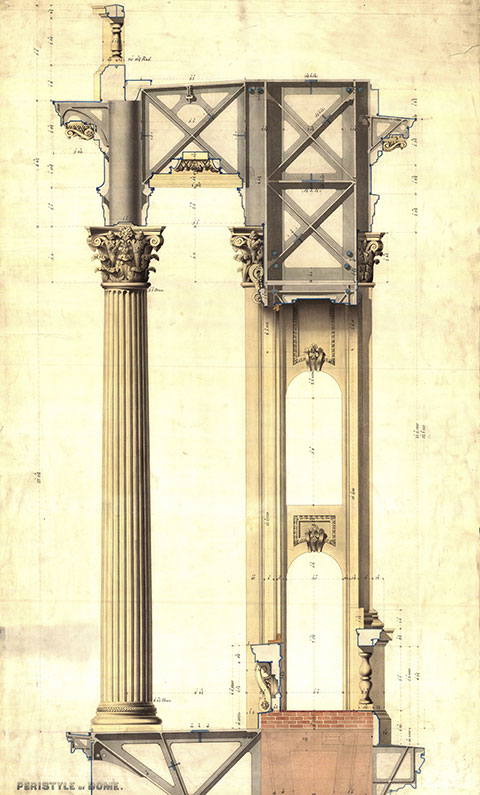 Thomas U. Walter's design for the bracket Meigs sketched and the column and brick structure it connects.