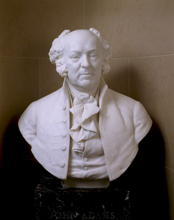 Bust of John Adams in a niche of the U.S. Capitol's Senate Gallery.