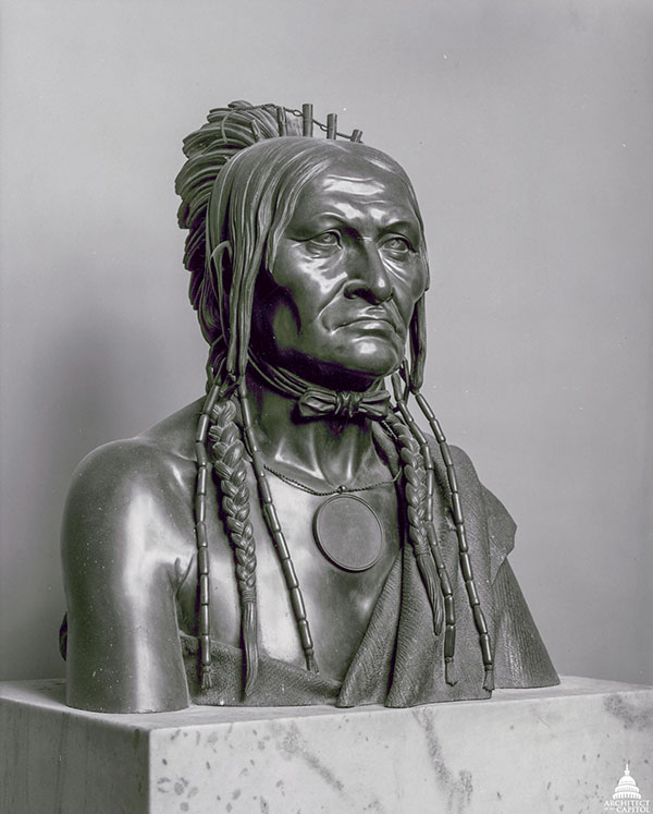 Bust of Chief Be sheekee by Joseph Lassalle in the U.S. Capitol House wing.