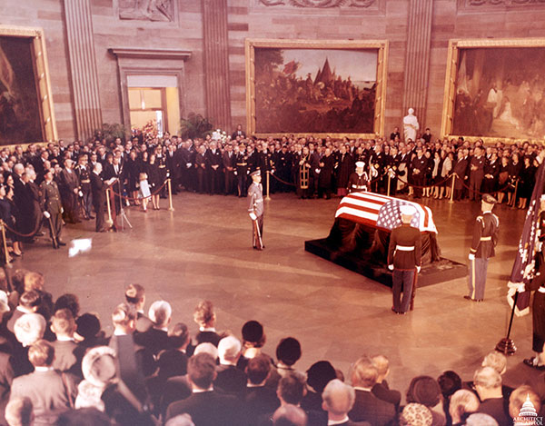 President John F. Kennedy lying in state in the U.S. Capitol Rotunda.