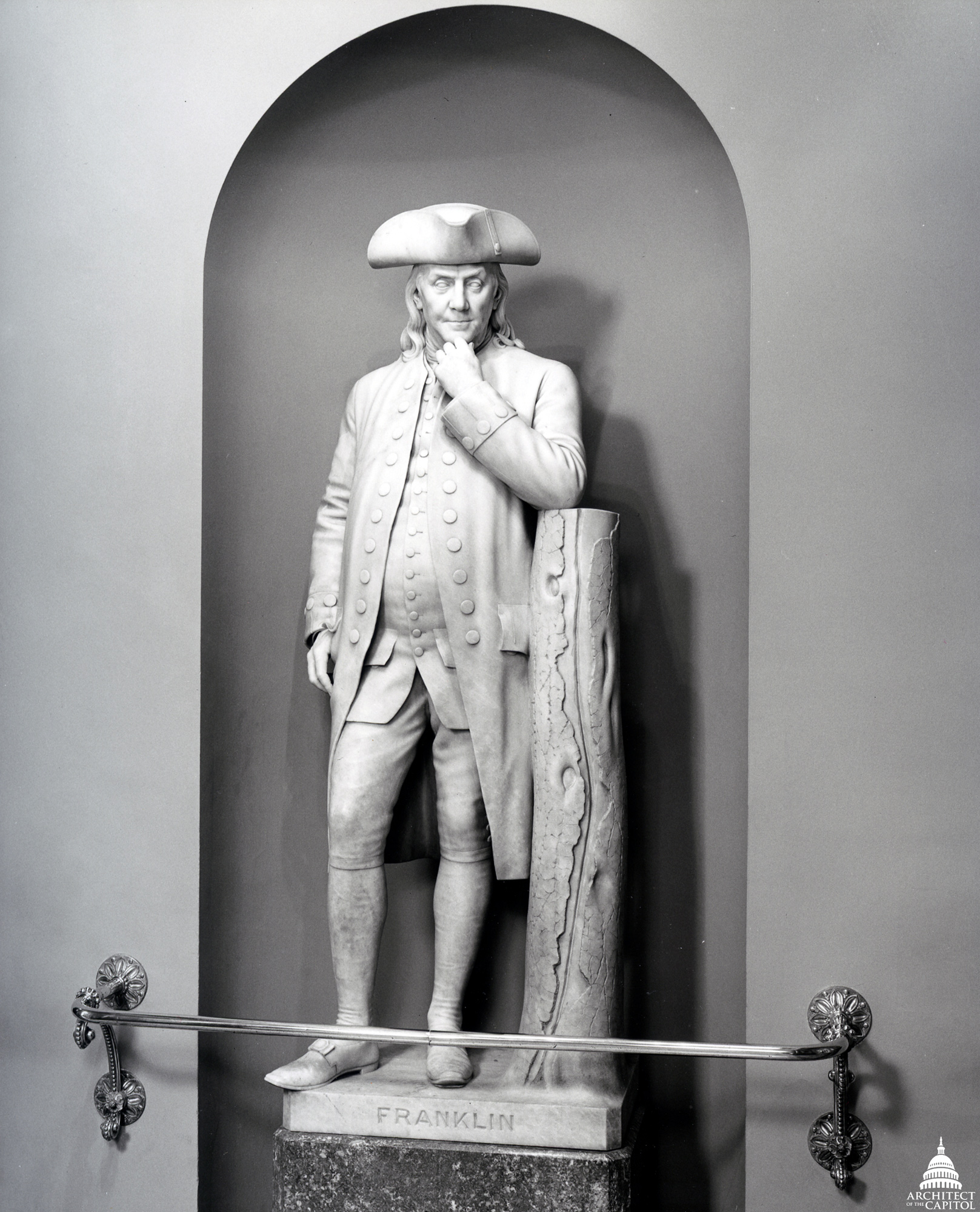 Benjamin Franklin statue by by Hiram Powers.