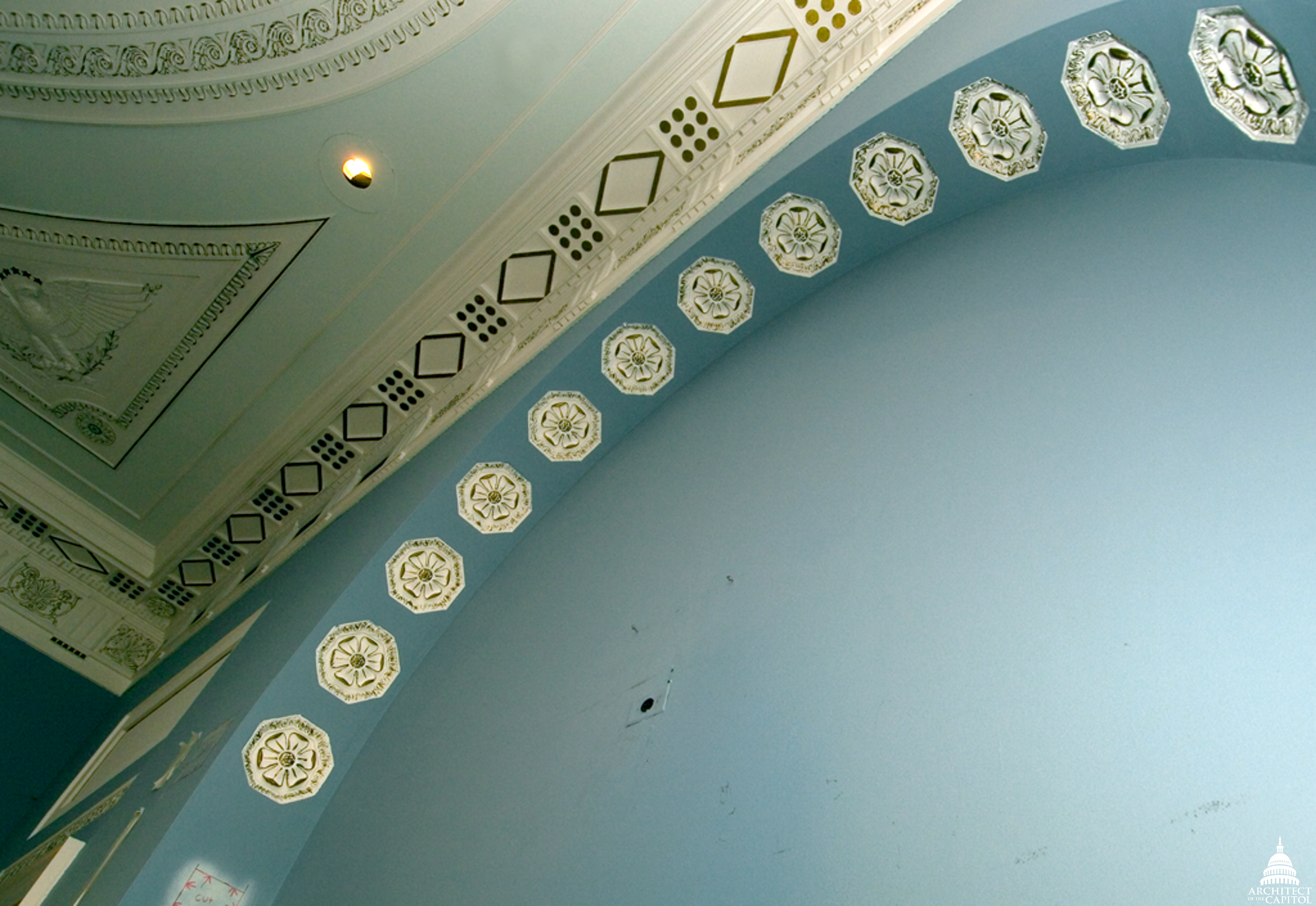 Example of decorative ceiling in the Longworth.