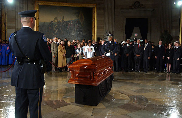 Rosa Parks's casket lying in the Rotunda of the U.S. Capitol