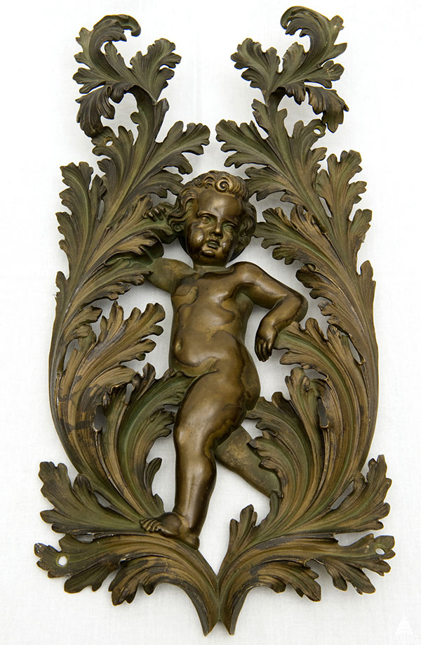 Bronze decorative element from the gallery doors of the 1857 to 1949 House Chamber designed by Constantino Brumidi, cast at the U.S. Capitol foundry, circa 1869.