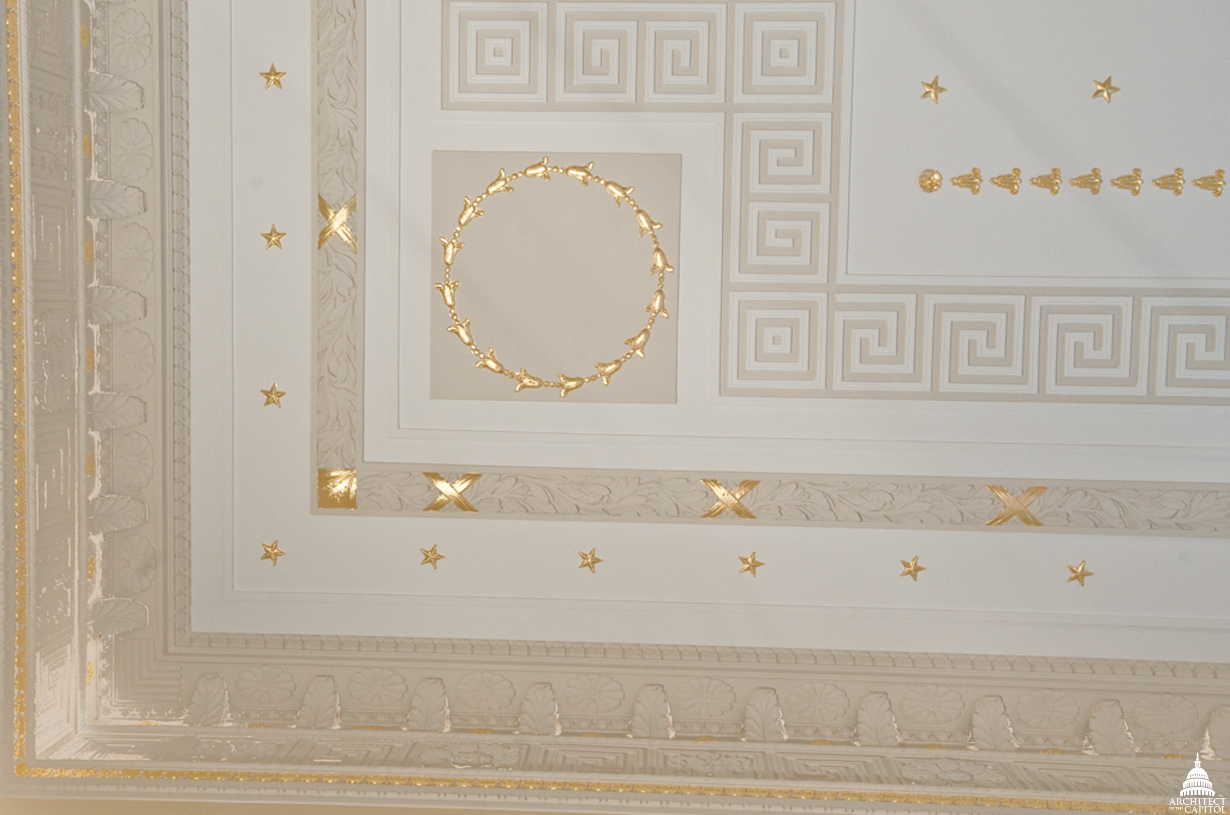 Example of decorative ceiling in the Longworth Building.