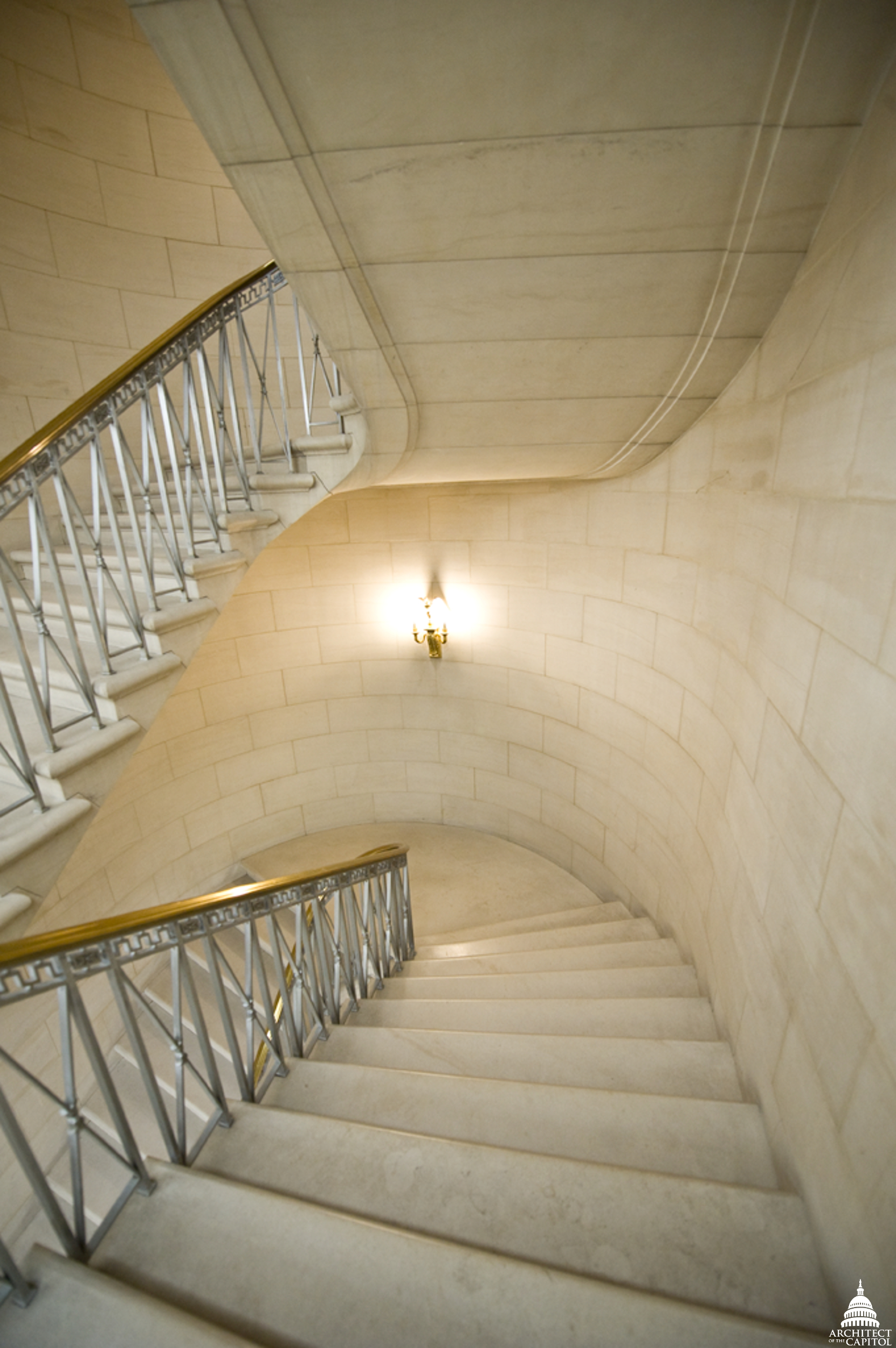 Interior staircase in the Longworth Building.