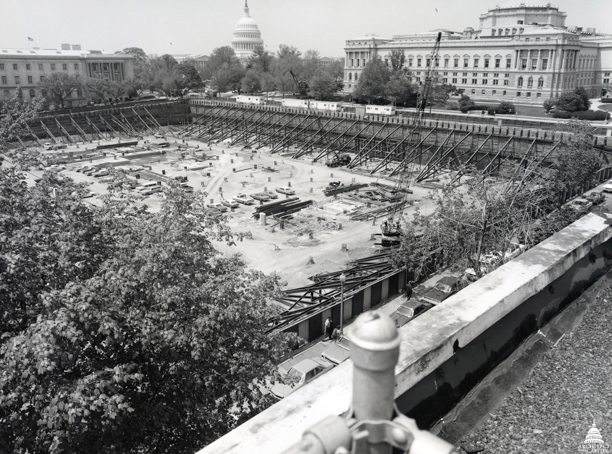 Scene from construction of the James Madison Memorial Building.