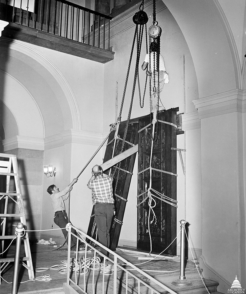 One of three in a series of photos with AOC employees Installing the Amateis Doors in the U.S. Capitol.