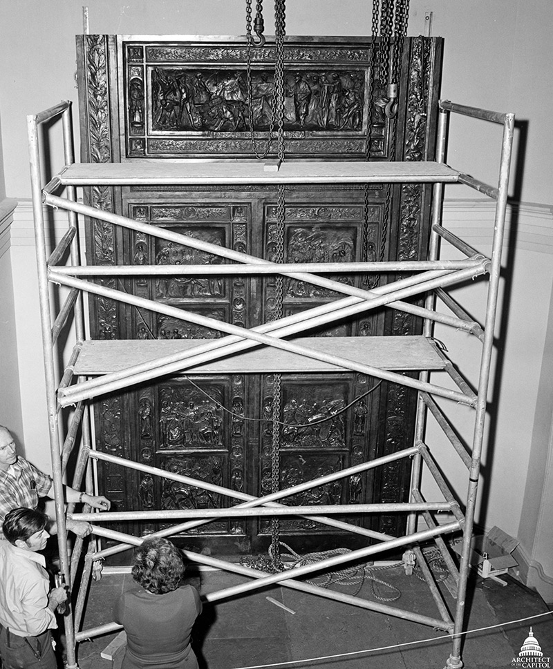 AOC employees, seen here in 1972, Installing the Amateis Doors in the U.S. Capitol.