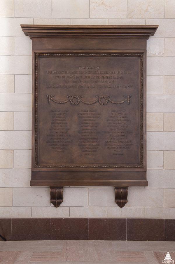 Flight 93 Memorial Plaque at the U.S. Capitol.