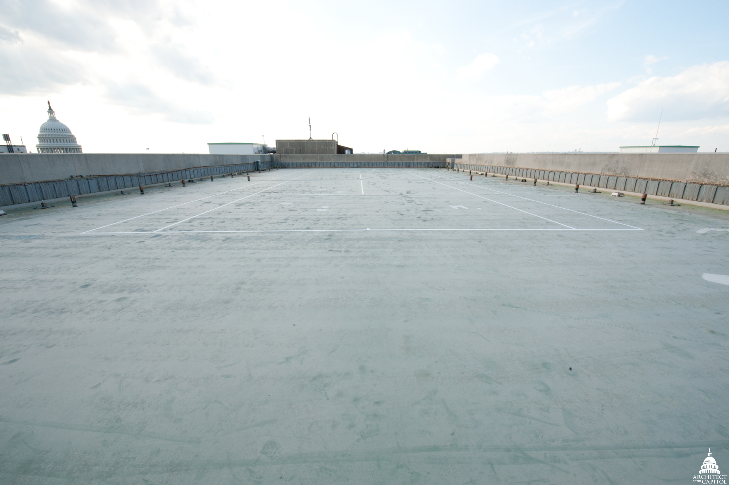 The middle section of the Dirksen Senate Office Building roof, prior to construction.