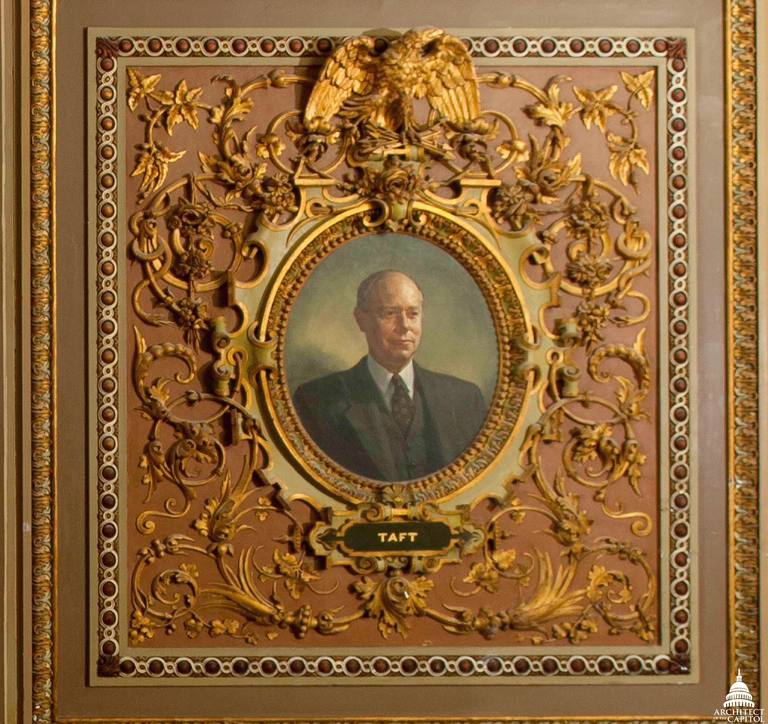Photo of Robert Taft portriat by Deanne Keller, one of the Monuments Men.