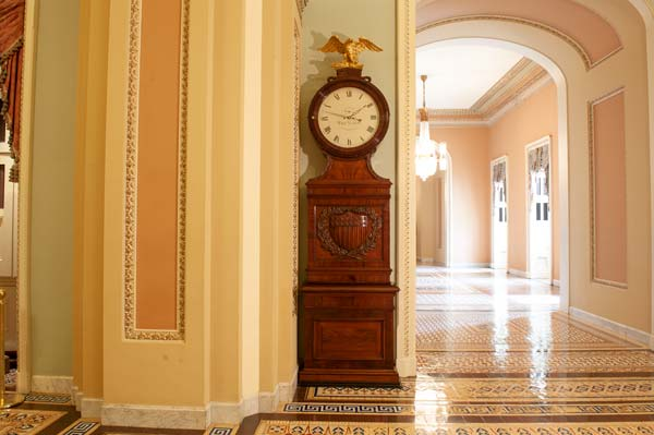 "The ""Ohio Clock"" near the Senate Chamber in the U.S. Capitol."