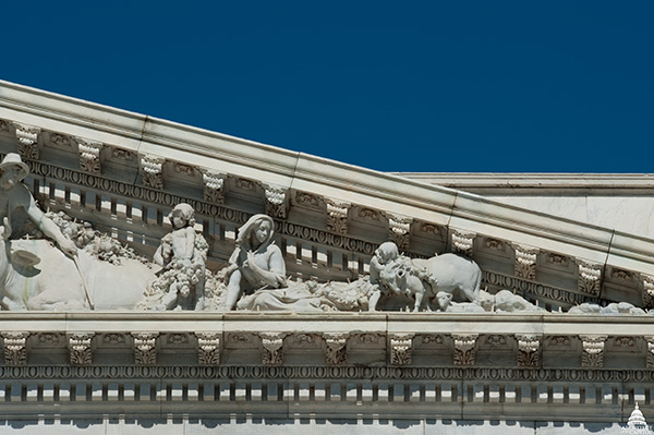 A close-up look at one of the waves carved as part of the Apotheosis of Democracy pediment on the House wing of the U.S. Capitol.