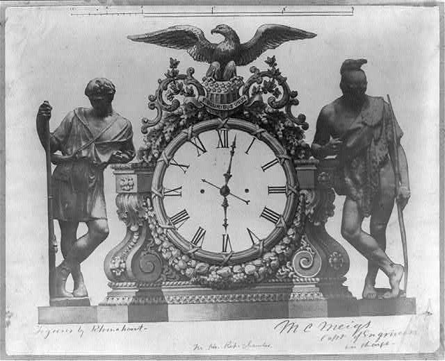 Design for Hall of Representatives Clock. Dated January 11, 1858
