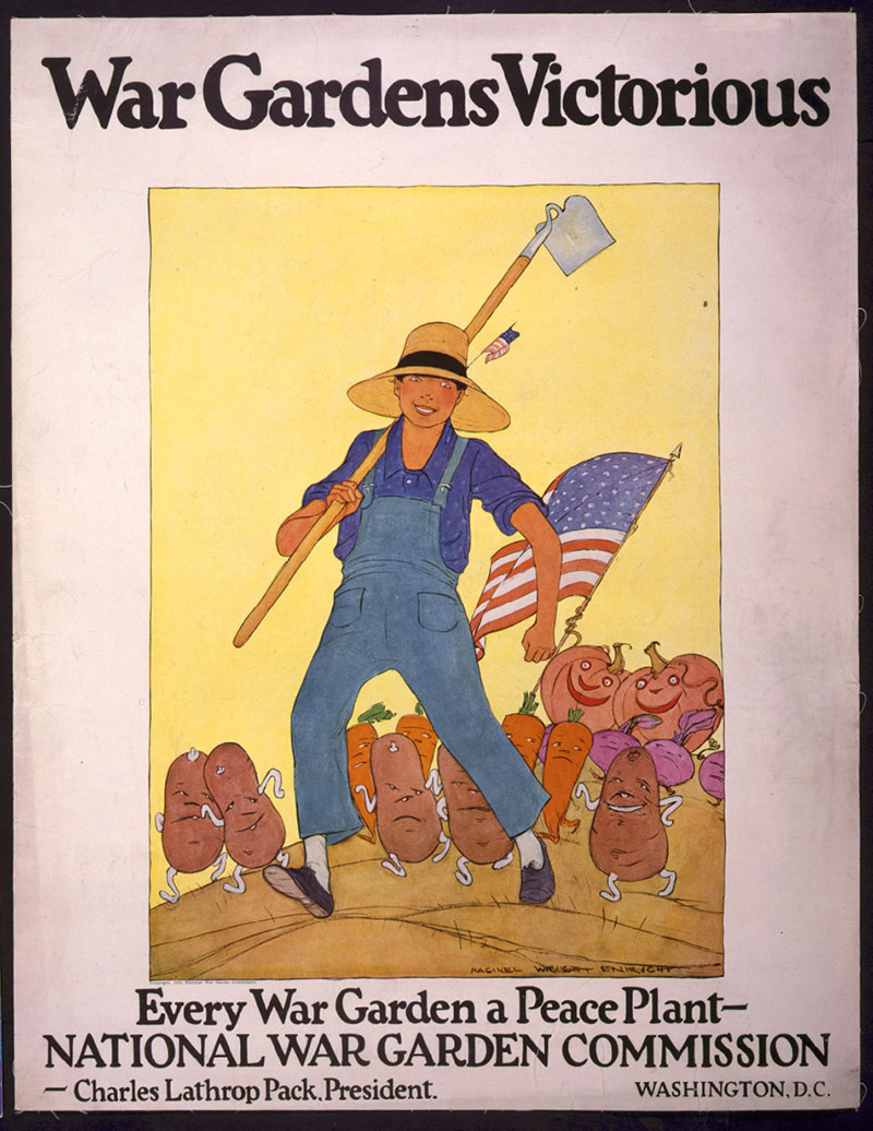 Period poster encouraging Americans to garden circa 1917.