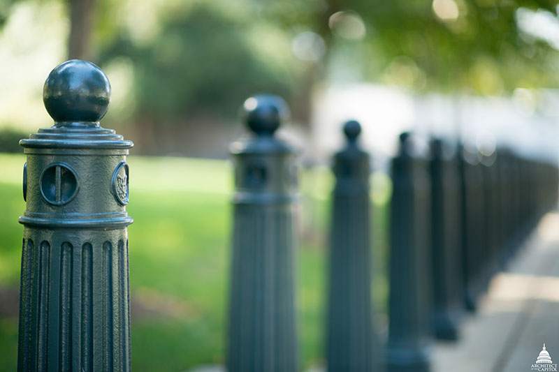 Bollards, featuring the seal of the U.S. Congress, used for security and traffic-control.
