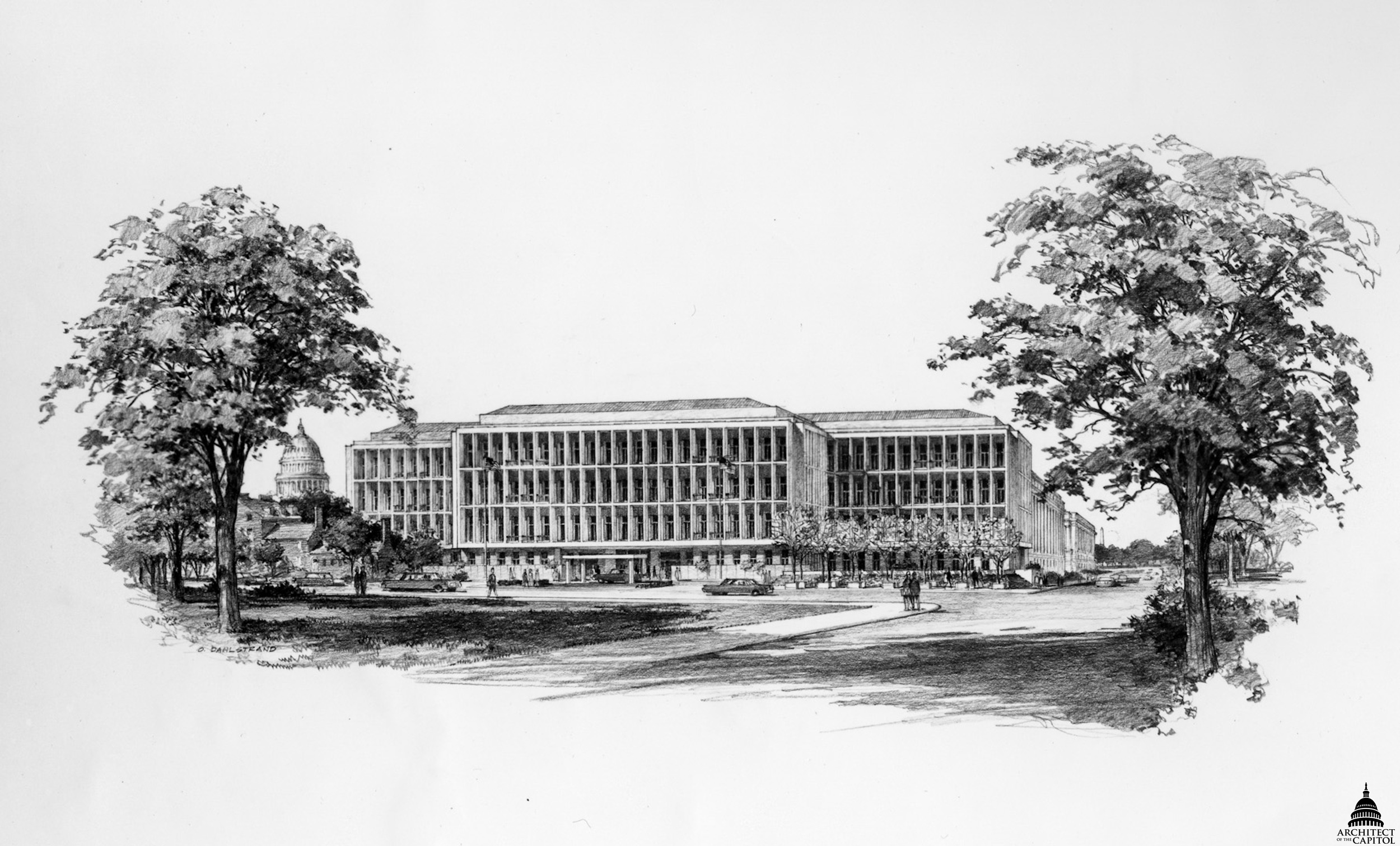 Rendering of the Hart Senate Office Building by architect John Carl Warnecke, 1975.