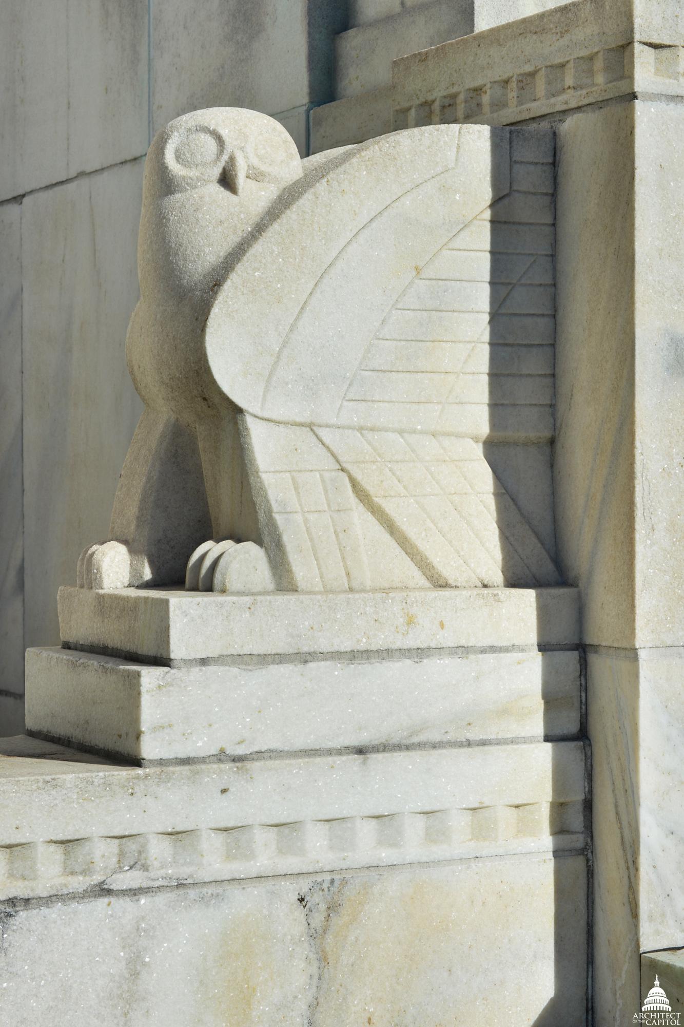 Adams Building south entrance owl motif.