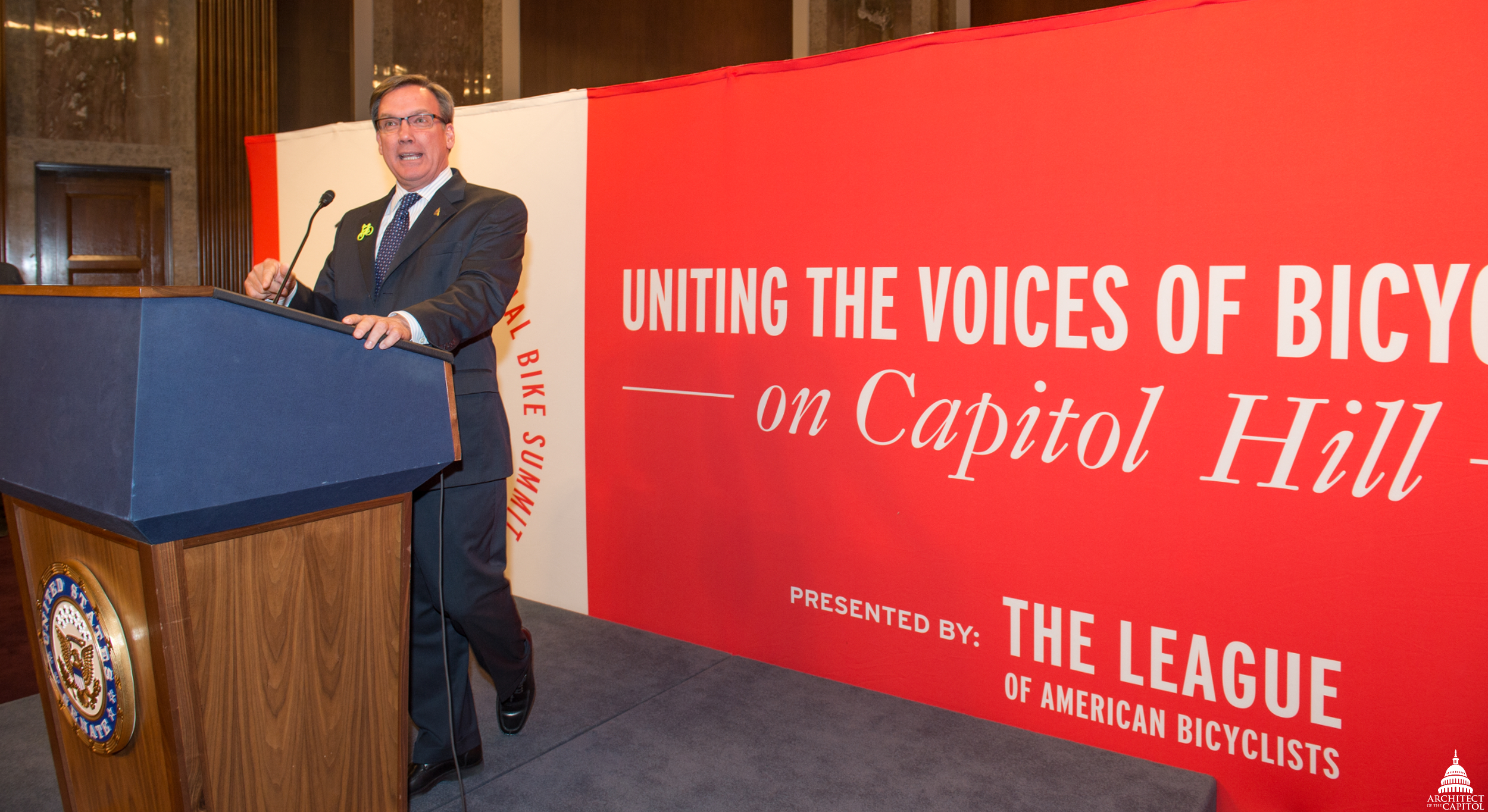 Architect of the Capitol Stephen Ayers addressed the League of American Bicyclists at the 2014 National Bike Summit.