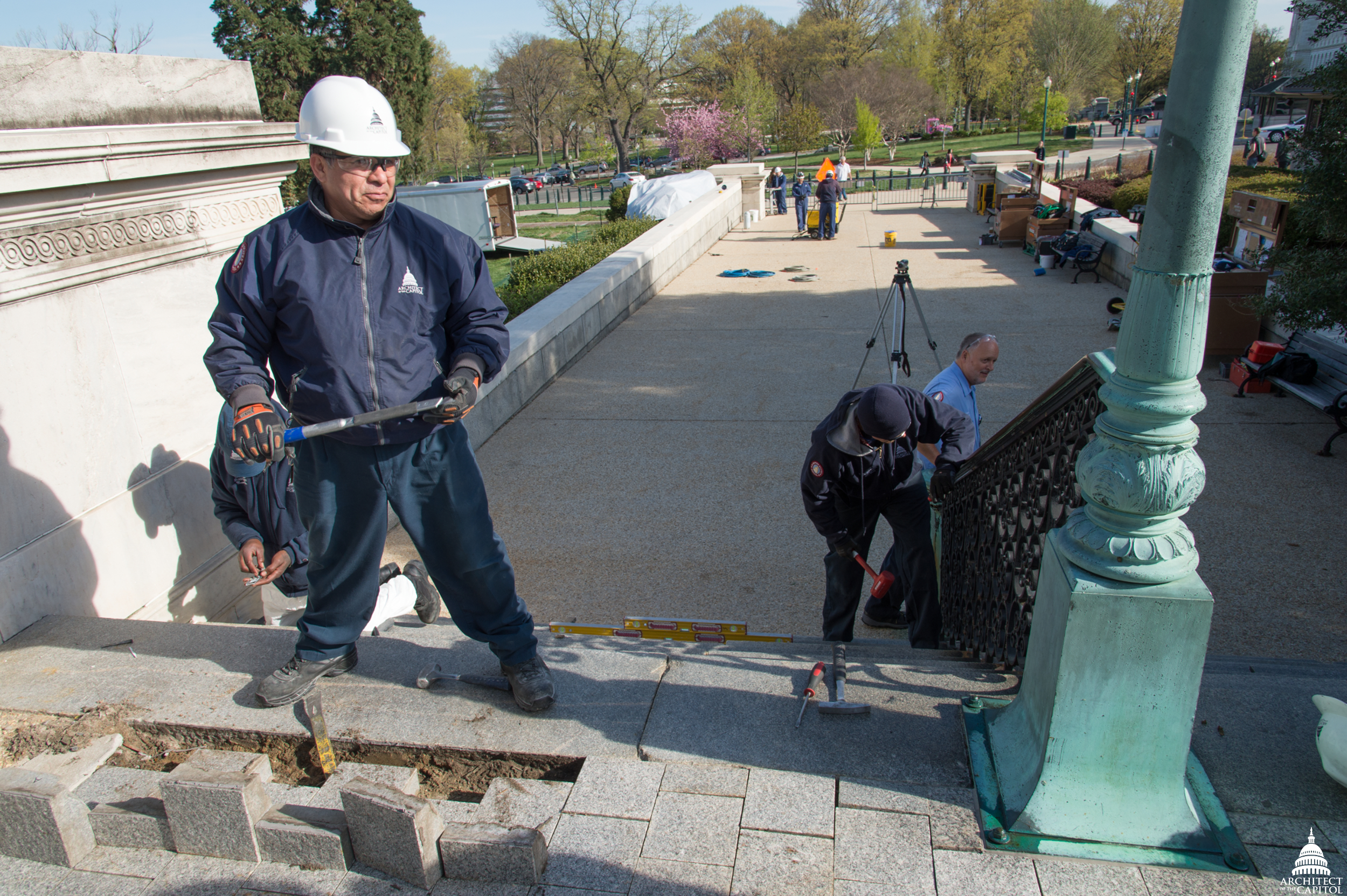 Removing stairs to be repaired near the Senate entrance of the Capitol.