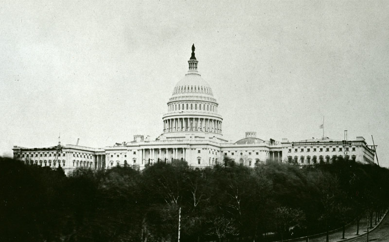 U.S. Capitol in 1865 with black bunting around the Dome following death of Abraham Lincoln April 15, 1865.