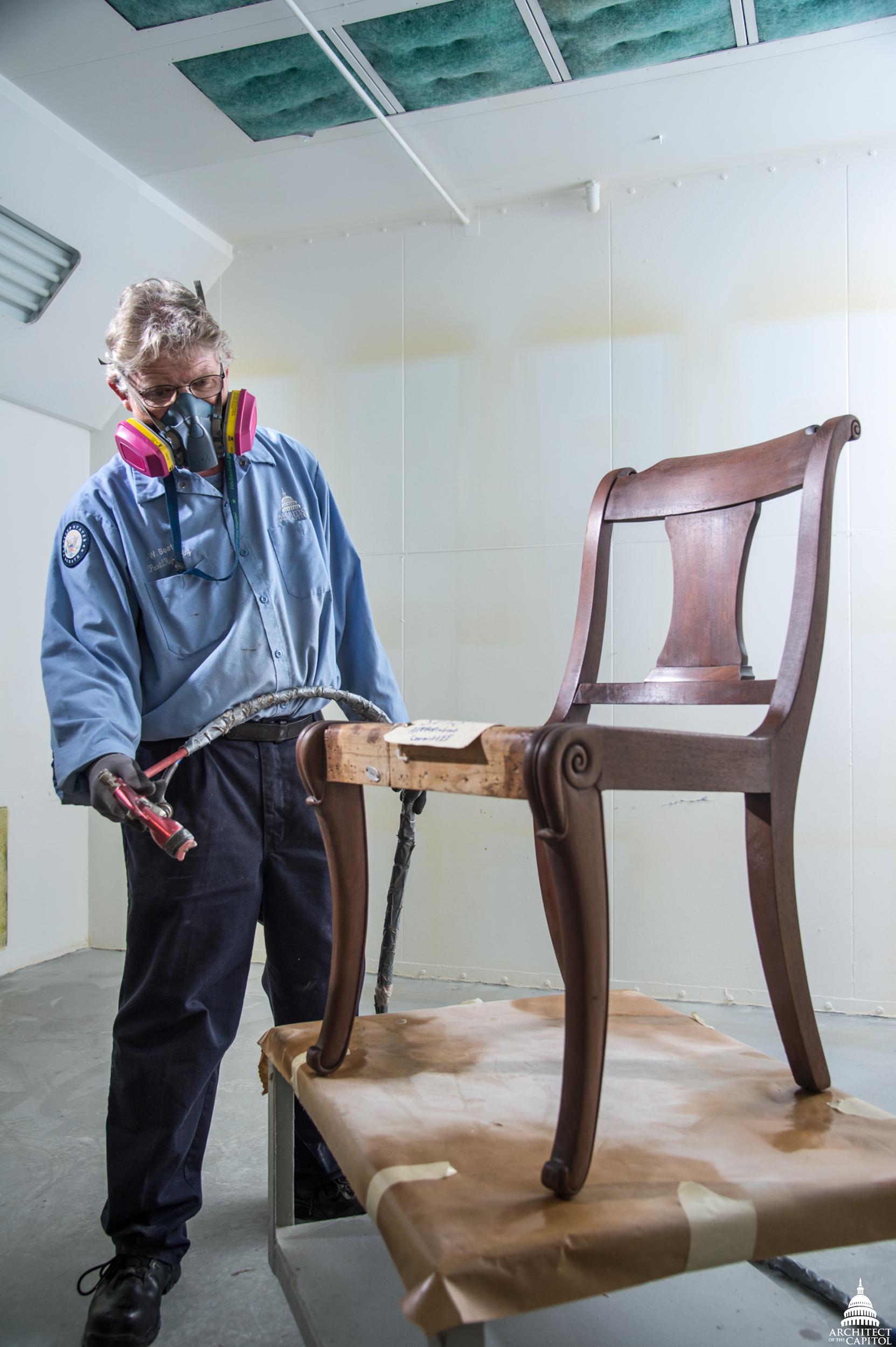painterrefinisher wayne beaton applies sealer to a senate office chair - Furniture Painter