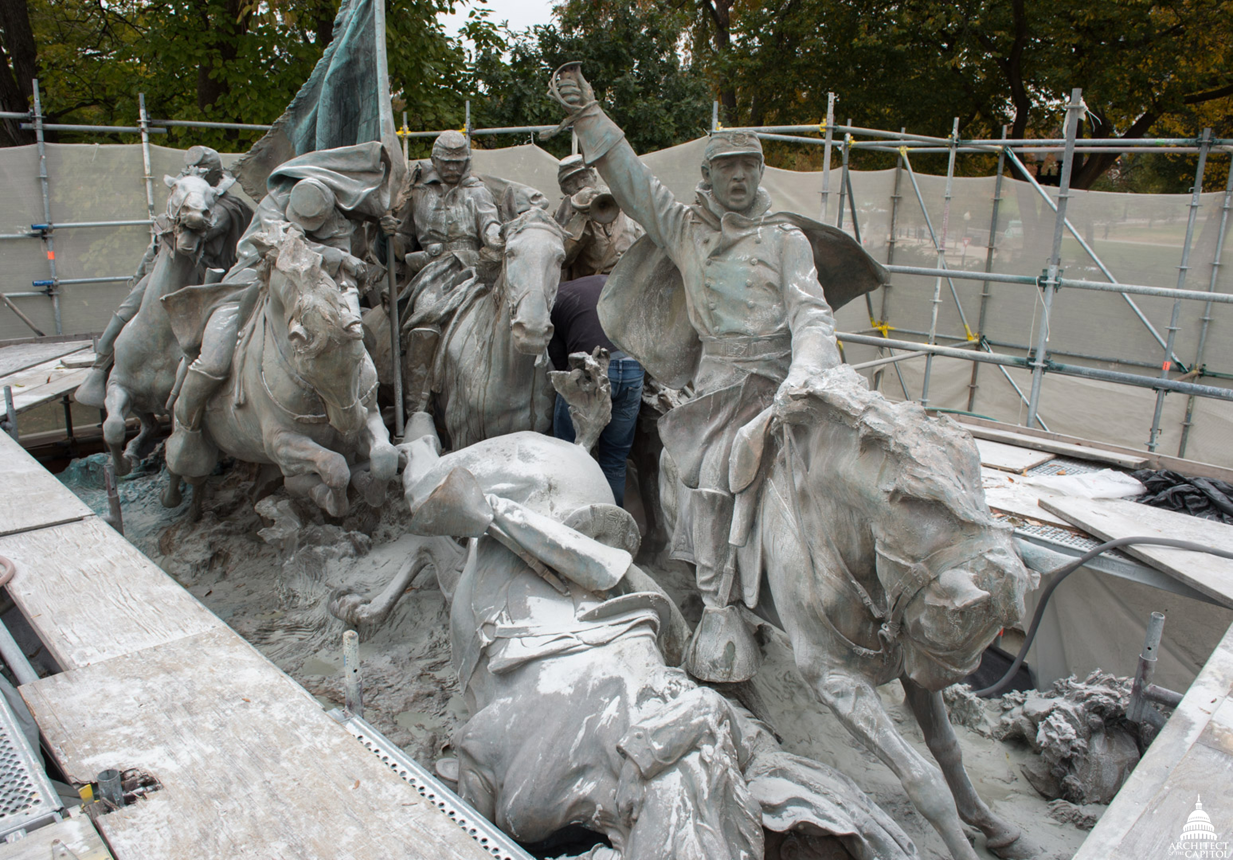 Image of Calvary Group currently under restoration.