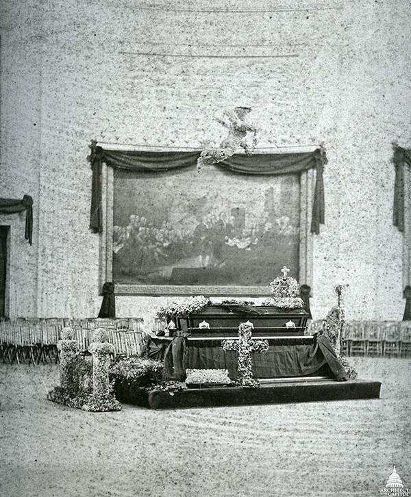 James A. Garfield lying in state in the U.S. Capitol Rotunda.