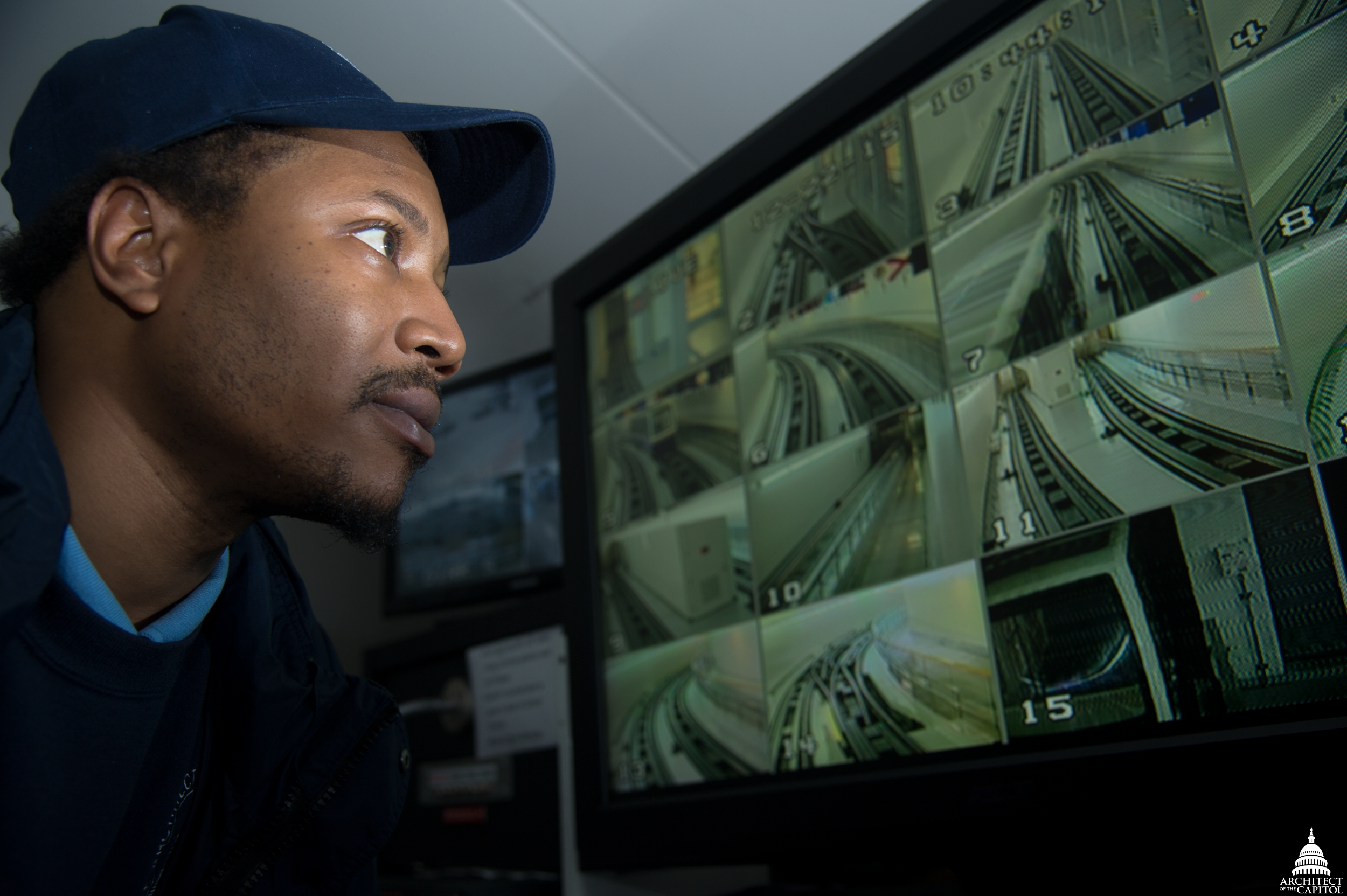 Erick Gage views the automated subway system to the Hart and Dirksen Buildings from a nearby control room. Staff continuously monitor the system so they can prevent many problems and respond quickly whenever they occur.
