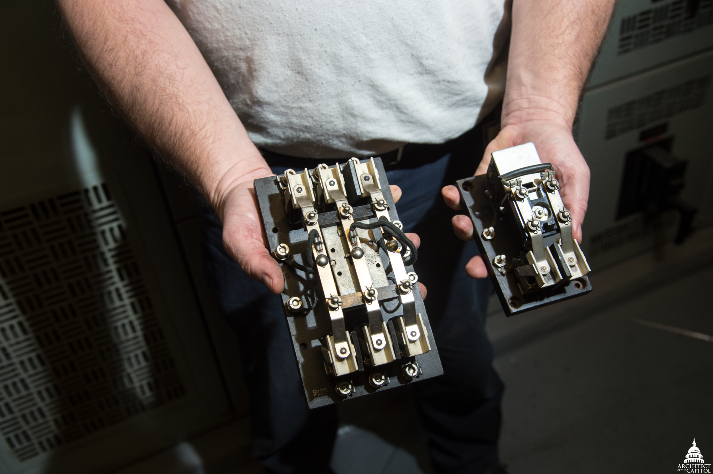 Two relay switches are used to open and close the doors on the Russell Building subway cars.