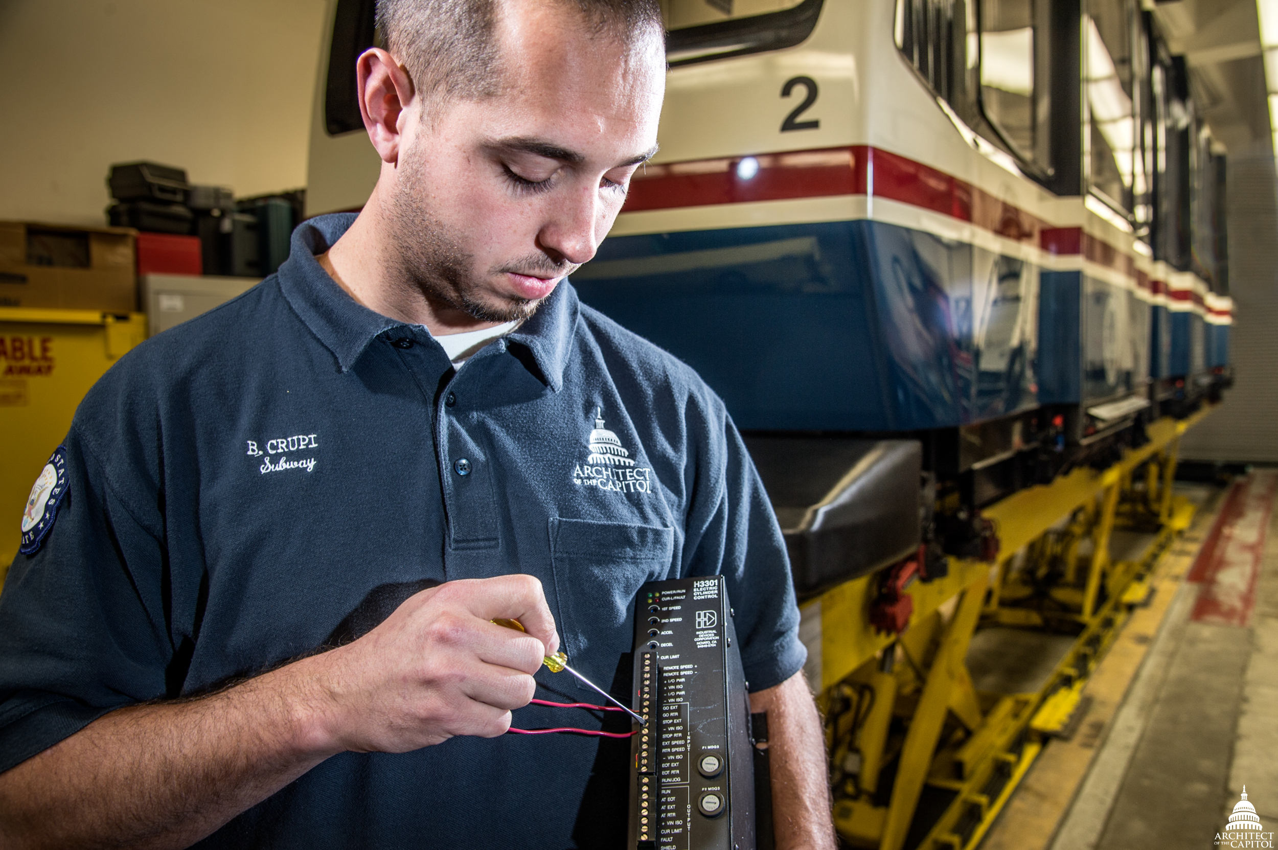 Brian Crupi works on a switch control cabinet which allows operators to move a subway car to the Hart and Dirksen Buildings from one track to the other for maintenance work.