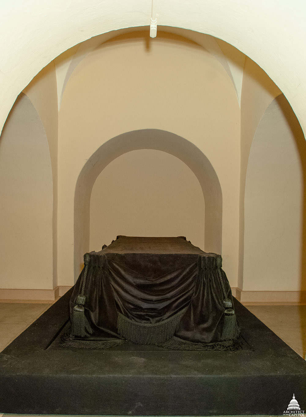 The Lincoln catafalque, constructed by Job W. Angus and others to support the casket of Abraham Lincoln while the president's body lay in state in the U.S. Capitol Rotunda.