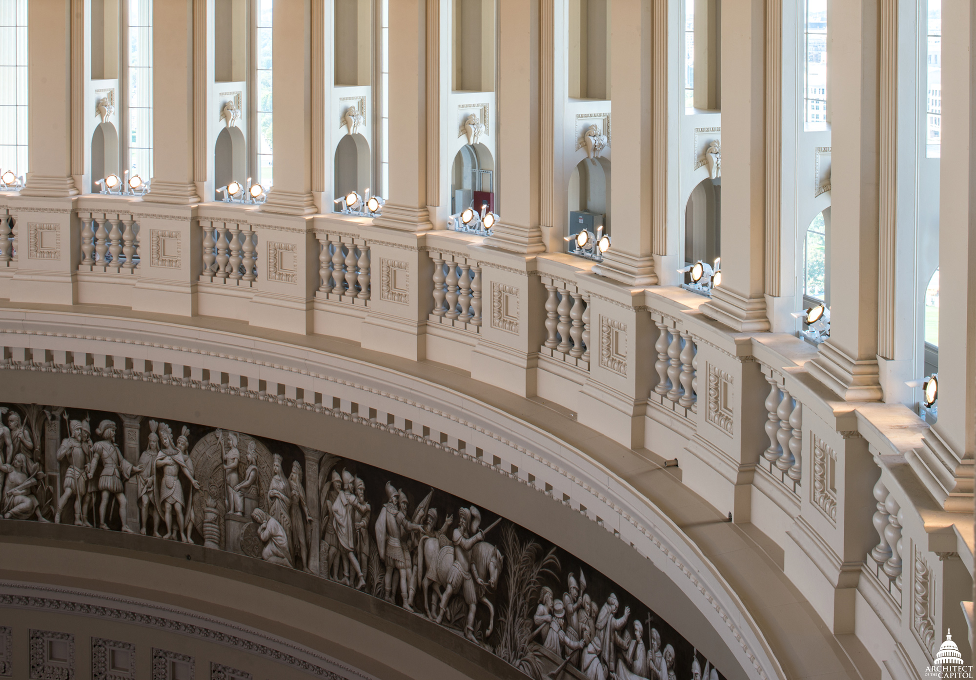 Partial view of the Frieze of American History.