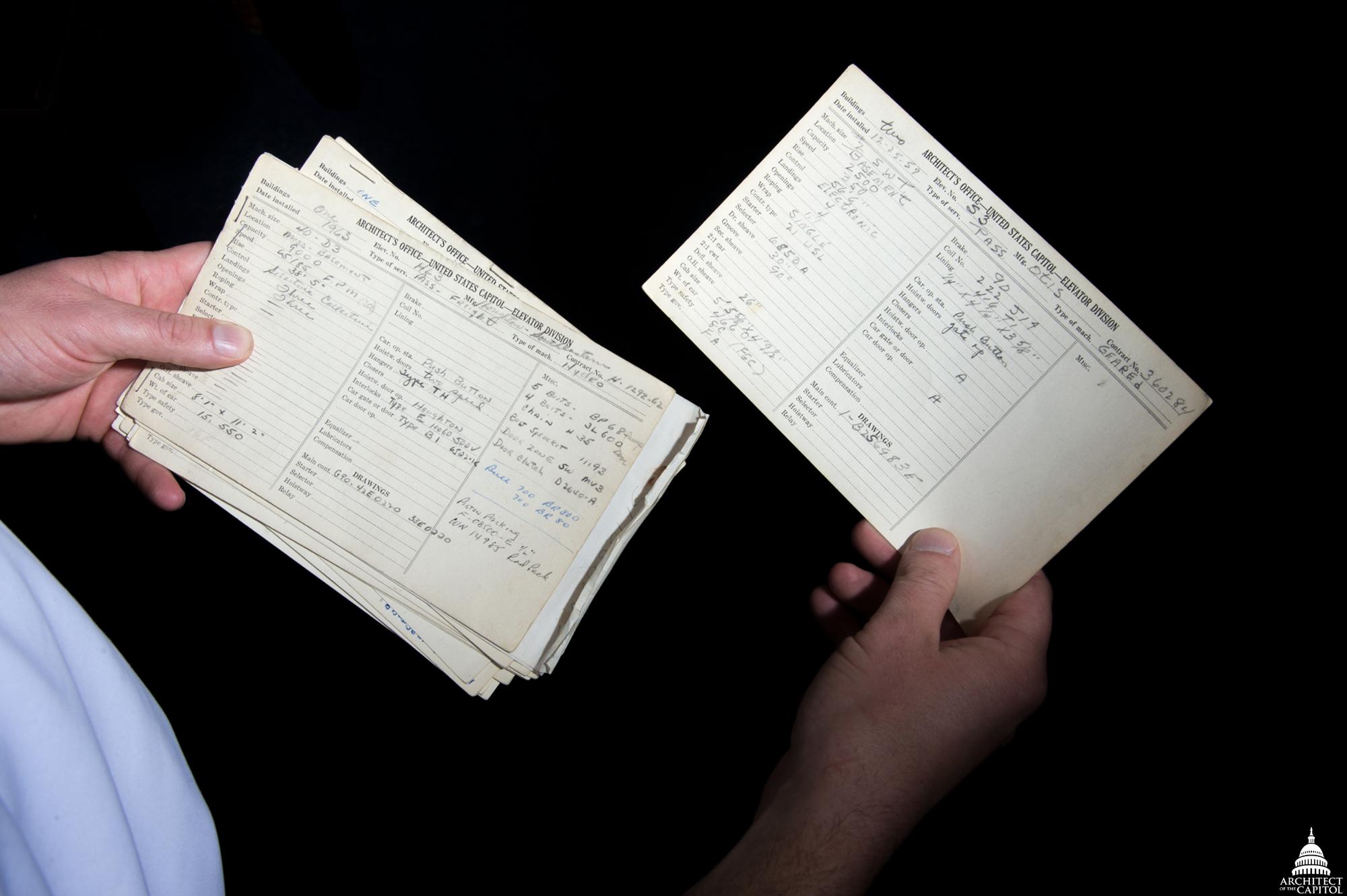 AOC's Scott Luketich searches records from the Elevator Division.