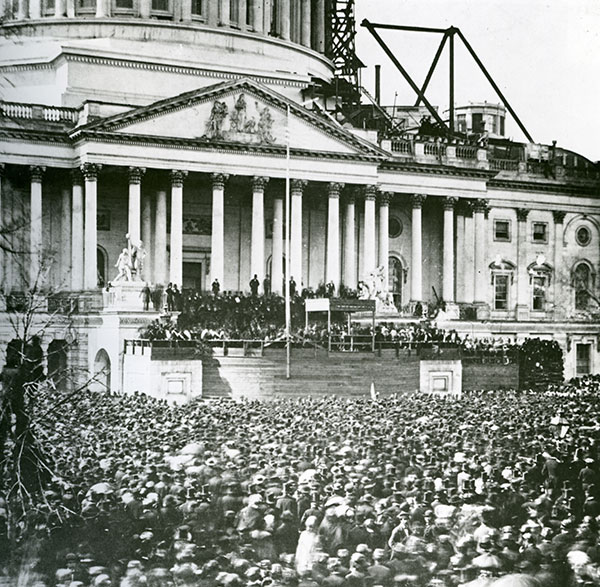 Abraham Lincoln's first presidential inauguration at the U.S. Capitol in 1861.