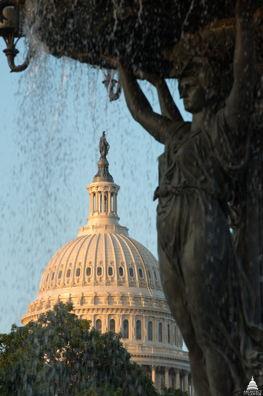 View of the Capitol Dome from Bartholdi Fountain.