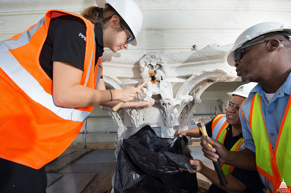 Restoration work on a column capital on the west façade of U.S. Capitol's north wing.
