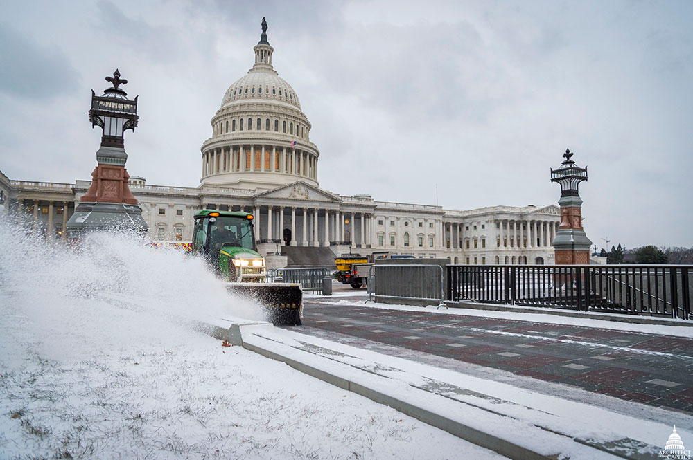 Clearing snow in front of the U.S. Capitol in January 2018.