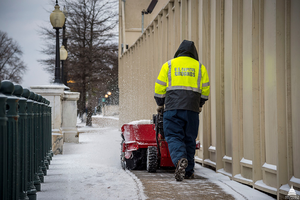 Capitol Grounds snow removal in January 2018.