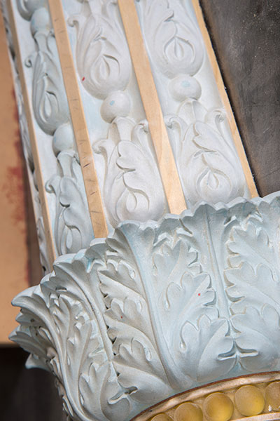 Detail of a Grant Memorial replica lamp post in production.