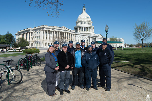 Capitol Building staff proudly sporting their bump caps.