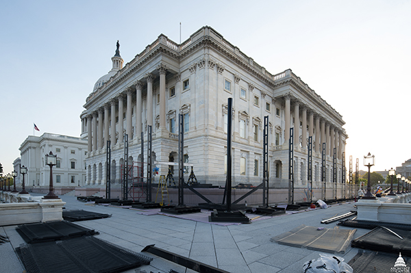 View of perimeter fence being built at the U.S. Capitol's south and west façades.