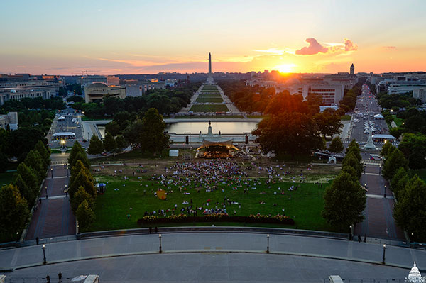 View west from the U.S. Capitol during sunset and the Labor Day Concert in 2018.