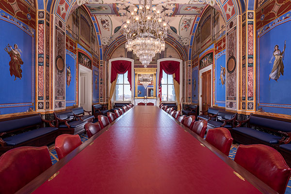 Room S-127 of the U.S. Capitol. Originally designed for the Senate Committee on Naval Affairs.