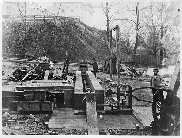 The hydraulic proving machine which determines the forces necessary to crush the stone and brick that would support the new U.S. Capitol dome.